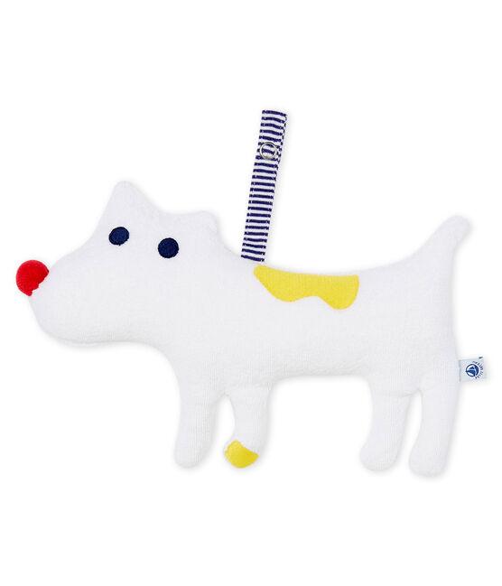 Knuffel met speen van bouclébadstof babyjongen wit Marshmallow