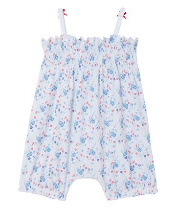 Kort bedrukt babypakje voor meisjes wit Ecume / blauw Bleu