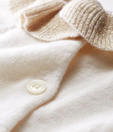 Cardigan babymeisje van tricot wol en katoen wit Marshmallow
