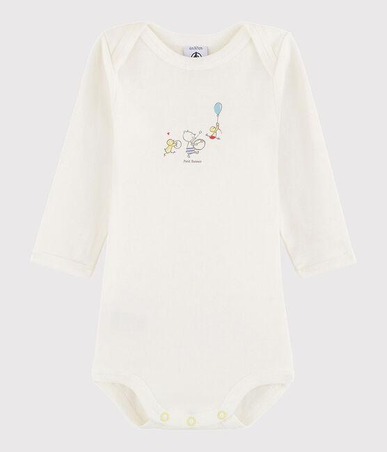 Body manches longues bébé fille-garçon blanc Lait / jaune Citrus