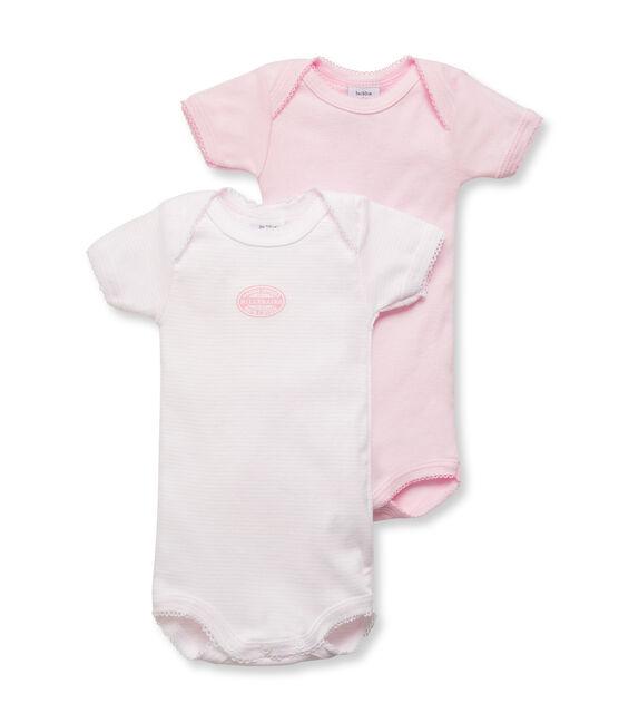 Lot de 2 bodies manches courtes bébé fille uni/milleraies lot .