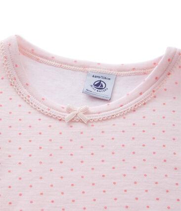 Meisjes-T-shirt met lange mouwen in wol/katoen roze Vienne / roze Gretel