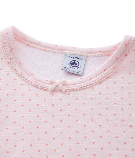 T-shirt fille en laine et coton rose Vienne / rose Gretel
