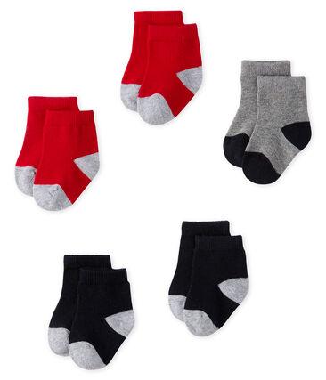 Lot de 5 paires de chaussettes essentielles bébé garçon bleu Smoking / rouge Terkuit