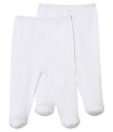 Set van 2 broeken met voetjes baby wit Ecume