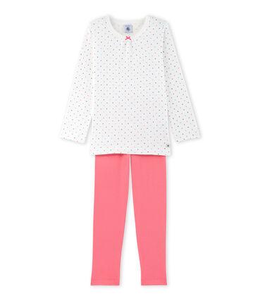 Pyjama fille à pois blanc Lait / rouge Carmen