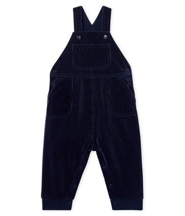 Salopette longue bébé garçon en maille velours côtelé bleu Smoking