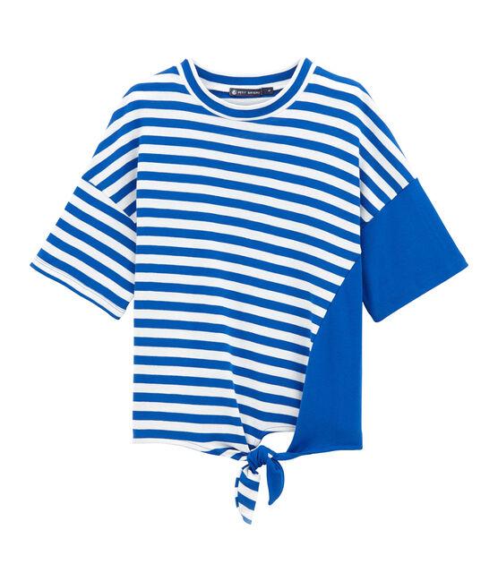 Strandt-shirt volwassene blauw Perse / wit Marshmallow