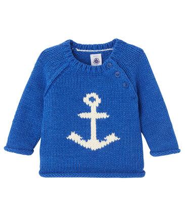Trui met jacquardmotief voor babyjongens blauw Limoges