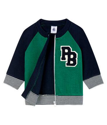 Cardigan zippé bébé garçon en tubique vert Ecology / bleu Smoking