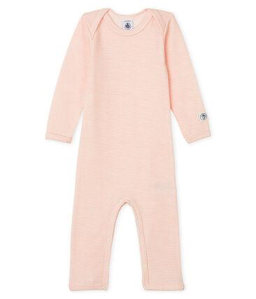 Body jambes longues bébé en laine et coton rose Charme / blanc Marshmallow