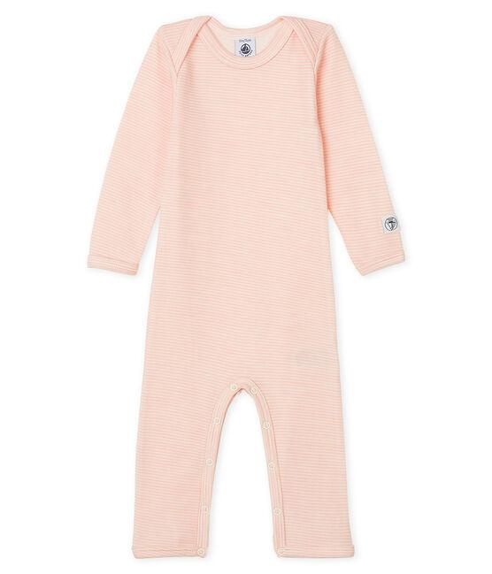 Rompertje lange pijpen van wol en katoen baby roze Charme / wit Marshmallow