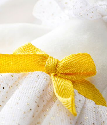 Konijnknuffel met petticoat wit Marshmallow / geel Dore