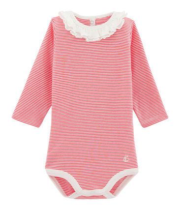 Body manches longues avec collerette bébé fille rose Groseiller / blanc Marshmallow
