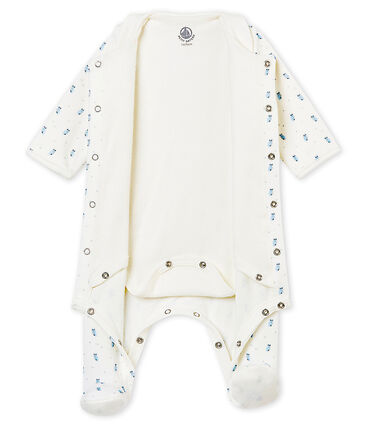 Bodyjama bébé garçon en velours de coton imprimé blanc Marshmallow / blanc Multico