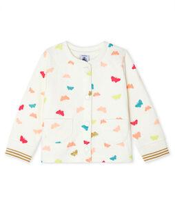 Cardigan van gewatteerde tubic babymeisje wit Marshmallow / wit Multico