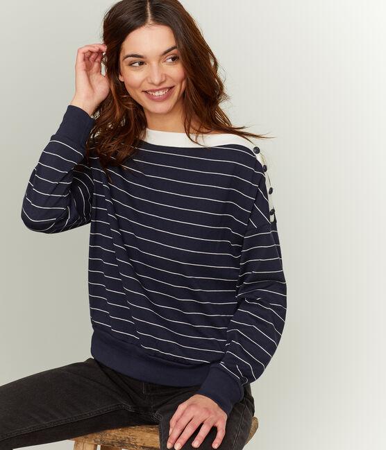 Sweatshirt met lange mouwen vrouwen blauw Smoking / beige Coquille