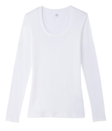 Tee shirt manches longues col danseuse femme blanc Marshmallow