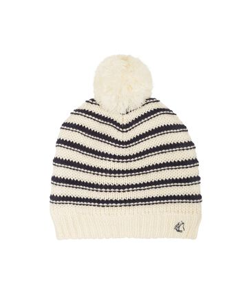 Bonnet enfant fille blanc Marshmallow / bleu Smoking