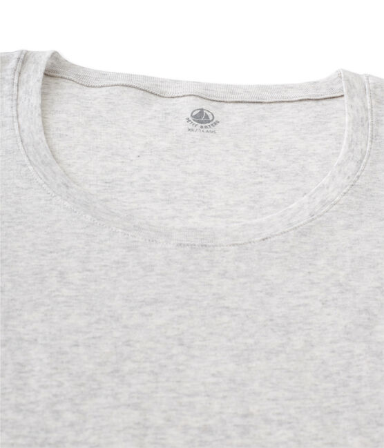 T-shirt femme manches longues col danseuse en coton léger grijs Beluga Chine
