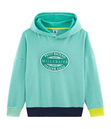 Kindersweater met capuchon van gebreide stof groen Esperanza / wit Marshmallow