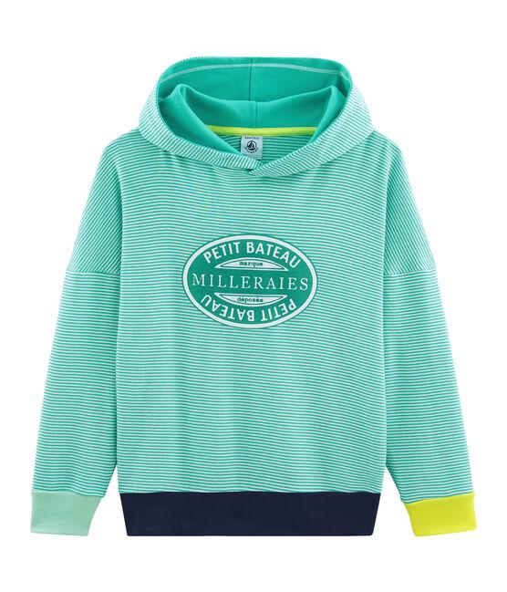 Sweat à capuche enfant en côte vert Esperanza / blanc Marshmallow