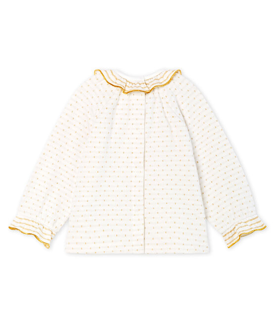 Blouse met lange mouwen van jacquard tubic babymeisje wit Marshmallow / geel Or