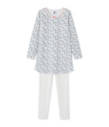 Chemise de nuit petite fille, avec legging blanc Marshmallow / blanc Multico