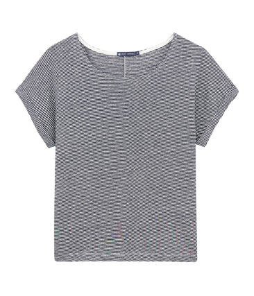 Vlot, linnen dames-T-shirt met milleraies-strepen blauw Smoking / wit Lait