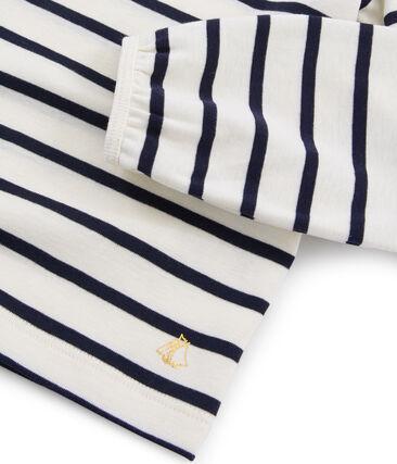 Tee shirt enfant fille beige Coquille / bleu Smoking