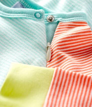 Slaappakje zonder voetjes van ribstof oranje Coral / wit Marshmallow