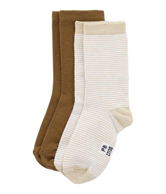 Set van 2 paar sokken: effen en strepen set .