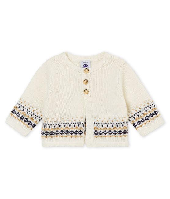 Jacquardgebreid vest voor babyjongens wit Marshmallow