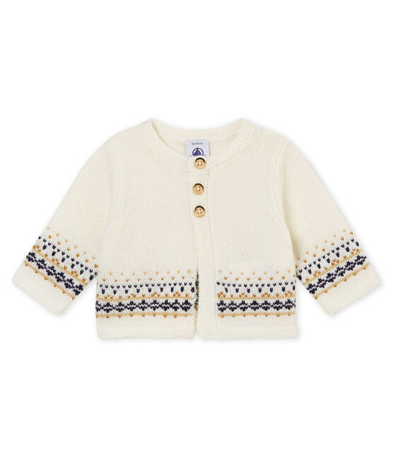 Cardigan tricot jacquard bébé garçon blanc Marshmallow
