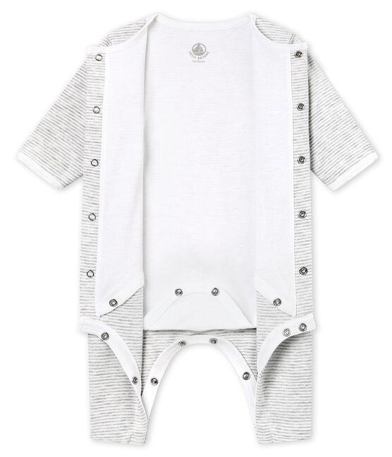 Uniseks pyjama zonder voetjes met geïntegreerde body grijs Beluga / wit Ecume