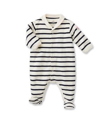 Gestreepte babypyjama beige Coquille / blauw Abysse