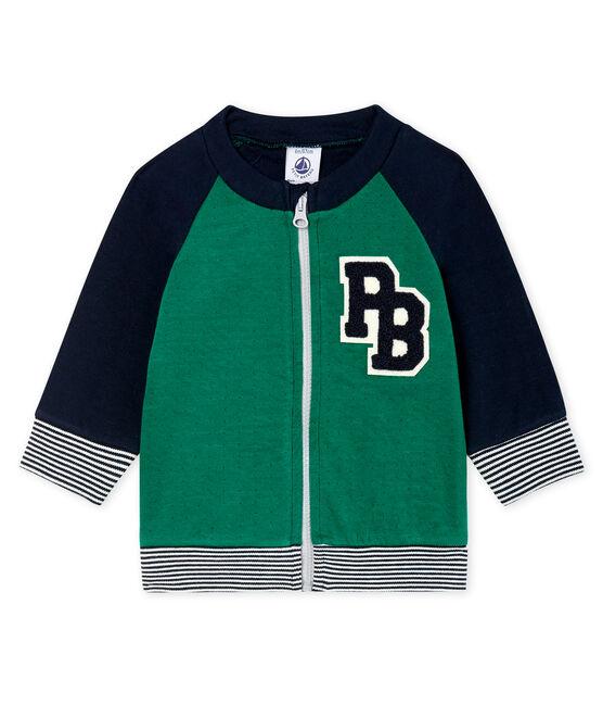Cardigan van tubic met rits babyjongen groen Ecology / blauw Smoking