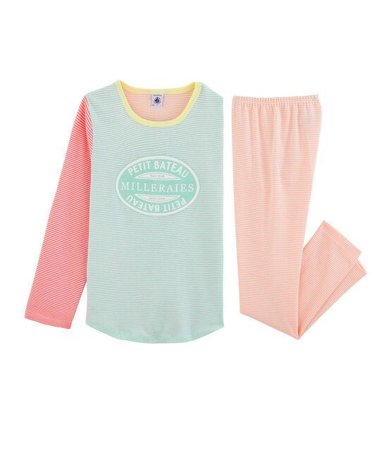 Meisjespyjama van ribstof wit Marshmallow / wit Multico