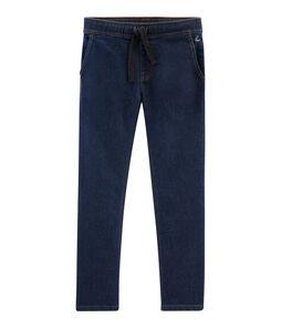 Pantalon enfant garçon en denim bleu Denim Bleu Fonce