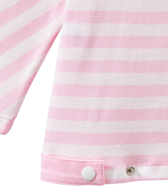 Dames-T-shirt met 3/4 mouwen en streepjes roze Babylone / wit Marshmallow