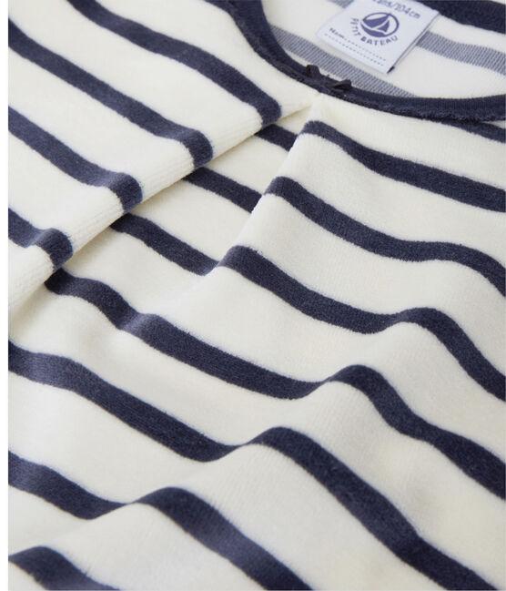 Chemise de nuit fille à bouclette velours beige Coquille / bleu Smoking