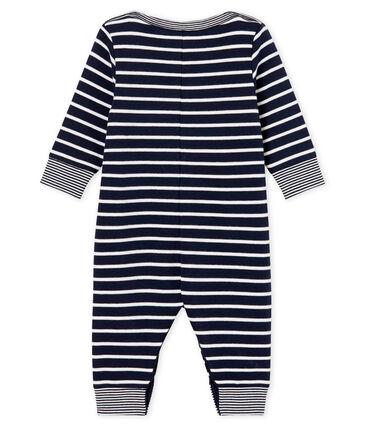 Combinaison longue bébé garçon rayure marinière bleu Smoking / blanc Marshmallow