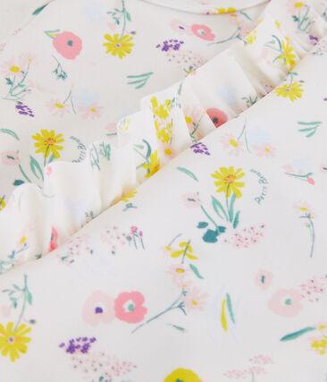 Maillot de bain 1 pièce écoresponsable enfant fille blanc Marshmallow / blanc Multico