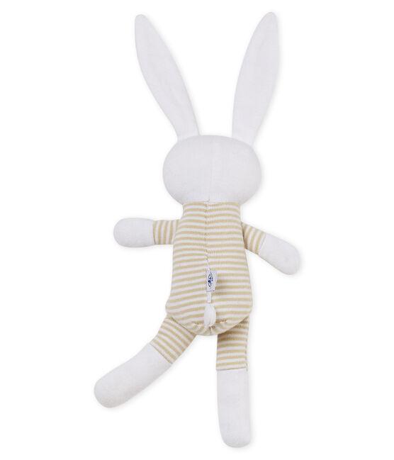 Uniseks konijnknuffel met rammelaar voor baby's beige Perlin / wit Marshmallow