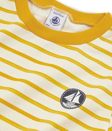 Tee-shirt manches courtes enfant garçon beige Coquille / jaune Boudor