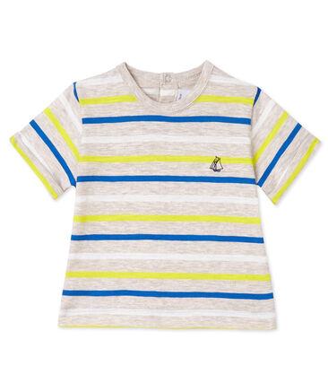 Gestreept T-shirt voor babyjongens beige Creamy / wit Multico