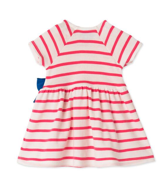 Robe bébé fille rayée wit Lait / roze Peony