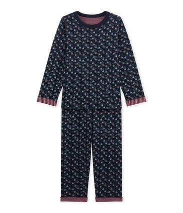 Pyjama garçon réversible bleu Smoking / blanc Multico