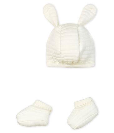 Lot bonnet et chaussons bébé en tubique