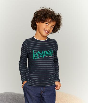 T-shirt met lange mouwen voor jongens blauw Smoking / groen Sousbois